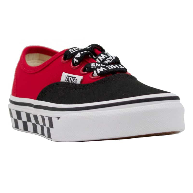 VANS AUTHENTIC BLACK WHT LOGO POP RED